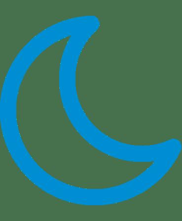 Blue crescent moon icon